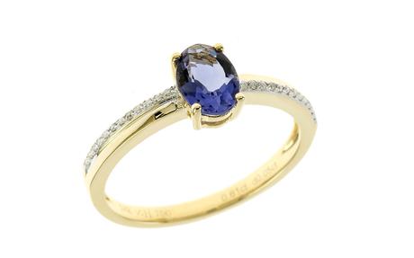 Ring 750/- Gelbgold mit Diamanten und Iolith