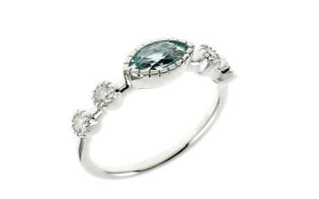 Ring 585/- Weißgold mit Diamanten und Aquamarin