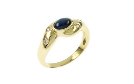 Ring 750/- Gelbgold mit Diamanten und Saphir