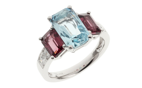 Ring 750/- Weißgold mit Diamanten, Aquamarin und Turmalinen