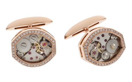 Manschettenknöpfe Clockwork 750/- Roségold mit Diamanten