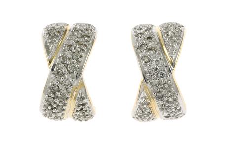 Halbcreolen 750/- Gelbgold mit Diamanten