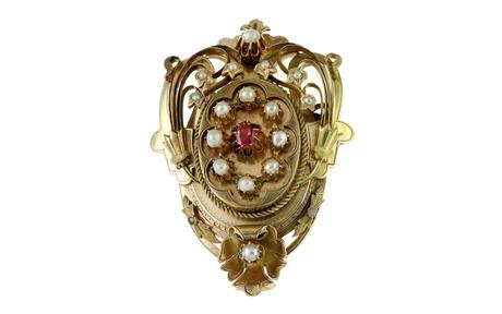 Brosche/ Anhänger 750/- Gelbgold mit Perlen und Glasstein