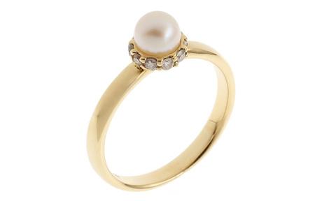 Ring 750/- Gelbgold mit Diamanten und Akoya-Zuchtperle