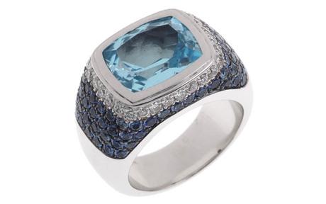 Ring 750/- Weißgold mit Diamanten, Saphiren und Topas