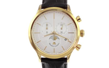 Maurice Lacroix Mondphase Chronograph LC 1148 Quarz Edelstahl vergoldet