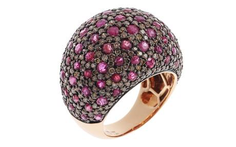 Ring 750/- Rotgold mit braunen Diamanten und Rubin