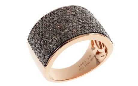 Ring 750/- Roségold mit braunen Diamanten