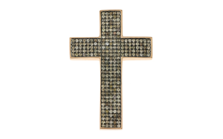 Anhänger Kreuz 750/- Roségold mit braunen Diamanten