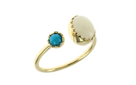 Ring 750/- Gelbgold mit Opal und Türkis