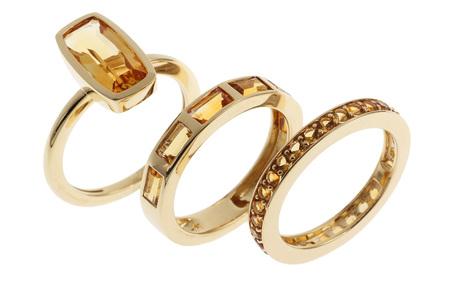 Dreiteiliger Ring 750/- Gelbgold mit Citrinen