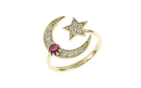 Ring 585/- Gelbgold mit Diamanten und Rubin