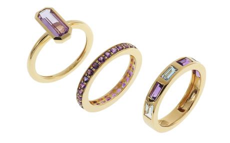 Dreiteiliger Ring 750/- Gelbgold mit Amethysten und Aquamarinen