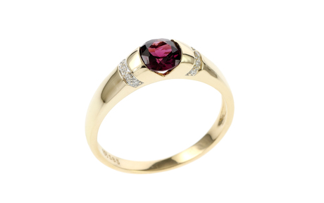 Ring 585/- Gelbgold mit Diamanten und Turmalin