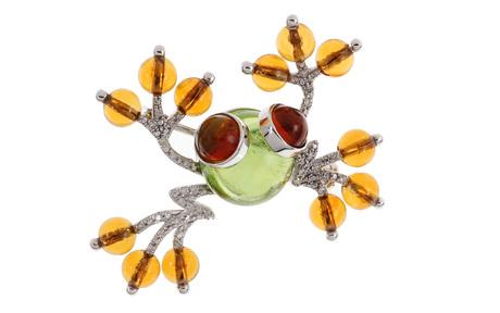Brosche Frosch 750/- Weißgold mit Diamanten, Peridot und Citrinen