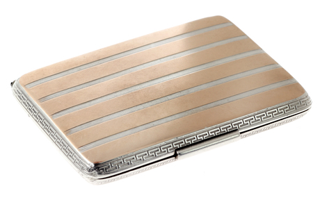 Zigarettenetui 800/- Silber mit 333/- Vergoldung