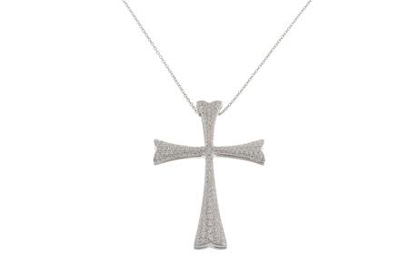Wempe Kette mit Kreuz 750 /- Weißgold mit Diamanten