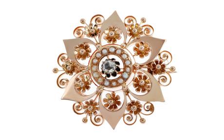 Brosche 750/- Roségold mit Diamant und Perlen