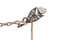 Anstecknadel 585/- Gelbgold mit Diamanten und Opal