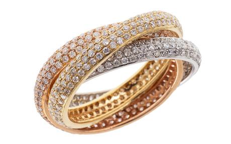 Ring 750/- Weißgold, Gelbgold und Roségold mit Diamanten