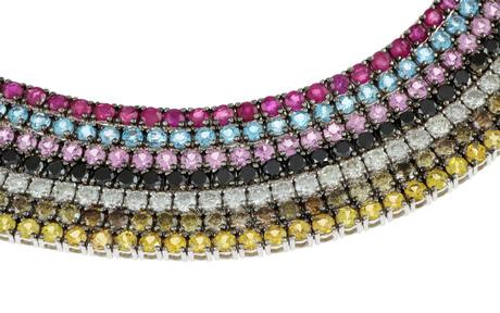 Armband 750/- Weißgold mit Diamanten, Rubinen, Saphiren und Topas