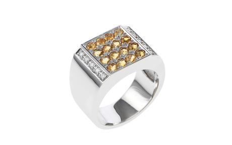 Ring 750/- Weißgold mit Diamanten und Citrinen