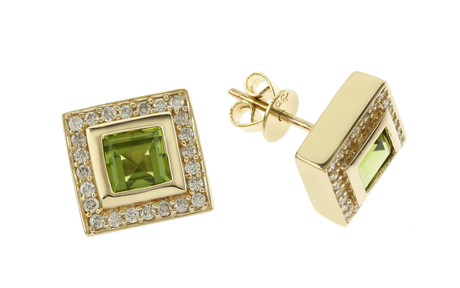 Ohrschmuck 750/- Gelbgold mit Diamanten und Peridot