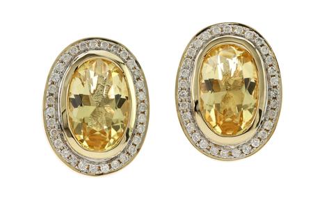 Ohrschmuck 585/- Gelbgold mit Diamanten und Citrinen