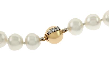 Collier 750/- Roségold und Weißgold mit Diamanten und Südsee-Zuchtperlen