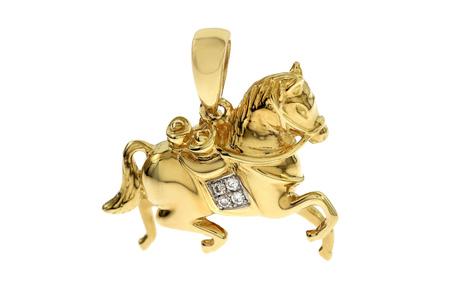Anhänger Pferd 750/- Gelbgold mit Diamanten