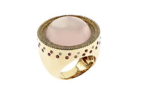 Ring 750/- Gelbgold mit Diamanten, Rubinen und Rosenquarz