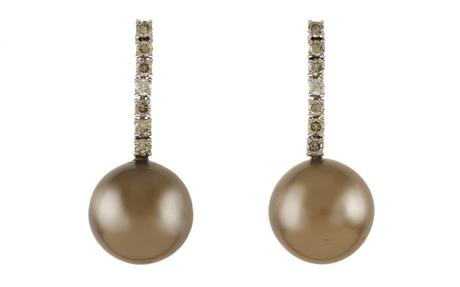 Ohrschmuck 750/- Weißgold mit Diamanten und Tahiti-Zuchtperlen