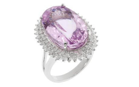 Ring 750/- Weißgold mit Diamanten und Kunzit