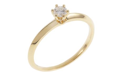 Solitär Ring 750/- Gelbgold mit Diamant IGI zertifiziert