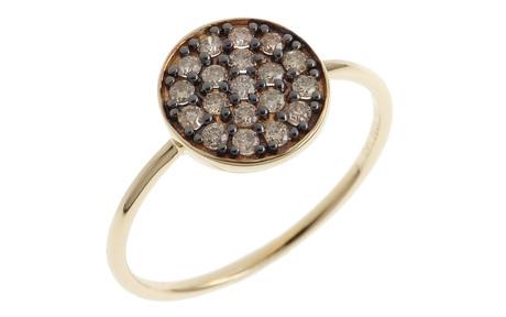 Ring 585/- Gelbgold mit braunen Diamanten