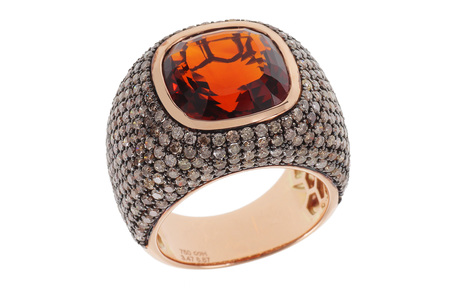 Ring 750/- Roségold mit Diamanten und Citrin