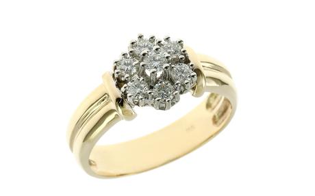 Ring 585/- Gelbgold und Weißgold mit Diamanten