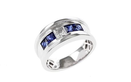 Ring 750/- Weißgold mit Diamant und Saphiren
