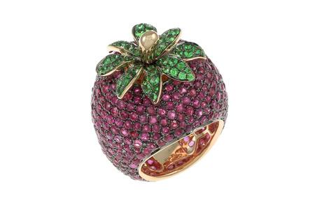 Ring Strawberry 750/- Roségold mit Rubinen und Tsavorithen
