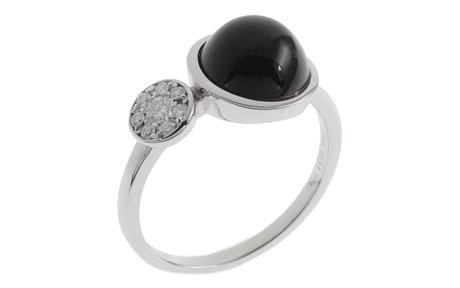Ring 750/- Weißgold mit Diamanten und Onyx