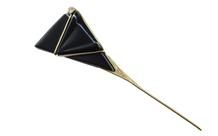 Brosche 750/- Gelbgold mit Diamanten und Onyx