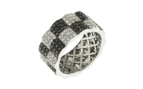 Ring 750/- Weißgold mit weißen und schwarzen Diamanten