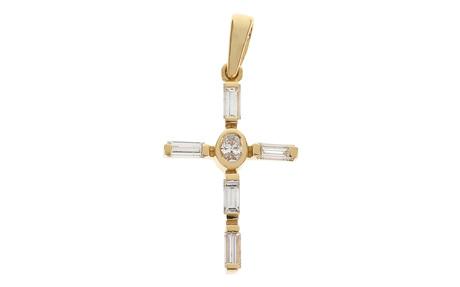 Anhänger Kreuz 750/- Gelbgold mit Diamanten