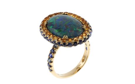 Ring 750/- Gelbgold mit Opal, Saphiren und Citrinen