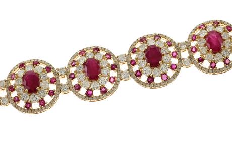 Armband 750/- Gelbgold mit Diamanten und Rubinen