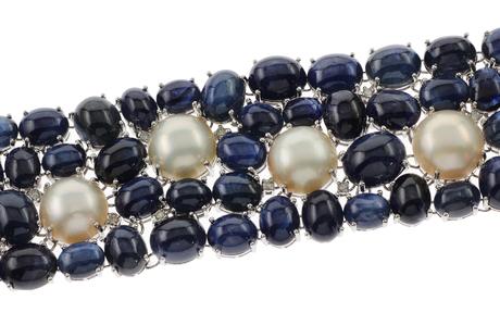 Armband 750/- Weißgold mit Diamanten, Saphiren und Mabe-Perlen