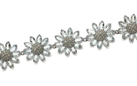 Armband 750/- Weißgold mit Diamanten und Aquamarinen