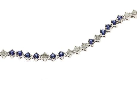 Armband 750/- Weißgold mit Diamanten und Saphiren