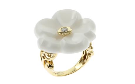 Ring 750/- Gelbgold mit Diamant und Onyx