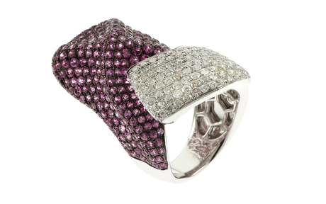 Ring 750/- Weißgold mit weißen Diamanten und Saphiren